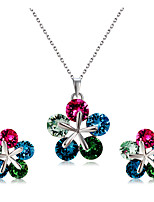 Earrings Set Necklace Pendants Crystal AAA Cubic Zirconia Euramerican Fashion Crystal Cubic Zirconia Alloy Flower1 Necklace 1 Pair of