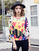 Women's Going out Simple T-shirt,Print Round Neck Long Sleeve Polyester Thin