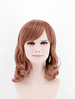 Fashion lady short paragraph wig light brown side points bangs natural wave high temperature wire wig