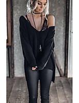 Damen Solide Street Schick Ausgehen T-shirt,Tiefes V Langarm Baumwolle