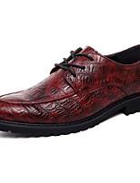 -Для мужчин-Свадьба Для офиса Для вечеринки / ужина-Кожа-На плоской подошве-Удобная обувь Светодиодные подошвы-Туфли на шнуровке
