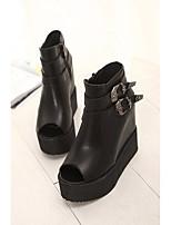 Черный-Для женщин-Повседневный-Полиуретан-На плоской подошве-Удобная обувь клуб Обувь-Сандалии