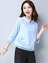 Women's Going out Casual/Daily Simple Spring Summer T-shirt,Solid Embroidered Round Neck ½ Length Sleeve Linen Medium