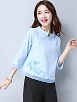 Feminino Camisa Social Para Noite Casual Simples Primavera Verão,Sólido Estampado Linho Colarinho Chinês Manga ¾ Média