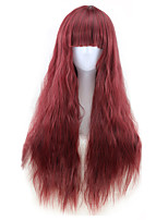 Fashion Sexy Women Red Color Wigs Ombre Natural Wave Heat Resistant Synthetic Wigs High Quality
