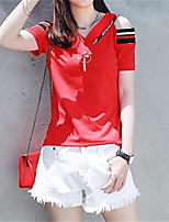 Women's Casual/Daily Simple Cute Spring Summer T-shirt,Striped V Neck Short Sleeve Polyester Medium