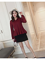 Women's Casual/Daily Simple Shirt,Solid Shirt Collar Long Sleeve Nylon Thin