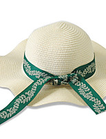 Women Summer Bowknot Sun Caps Folding Beach Seaside UV Straw Hat