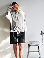 Men's Casual/Daily Hoodie Solid Round Neck strenchy Cotton Long Sleeve