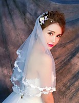 Wedding Veil One-tier Elbow Veils Fingertip Veils Lace Applique Edge Tulle Lace Ivory