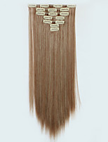 7pcs/Set 130g Medium Auburn Straight 50cm Hair Extension Clip In Synthetic Hair Extensions