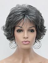 perucas grossas novas ondulado escuro encaracolado cabelo cinzento sintética curta das mulheres completas para todos os dias