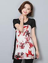 Damen Blumen Street Schick Anspruchsvoll Lässig/Alltäglich Urlaub T-shirt,Rundhalsausschnitt Sommer Kurzarm Polyester Dünn