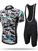 XINTOWN Cycling Jersey with Bib Shorts Men's Short Sleeve Bike Bib Tights Jersey TopsQuick Dry Ultraviolet Resistant Moisture