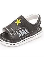 Boys' Sandals Summer First Walkers Cowhide Casual Flat Heel Black White