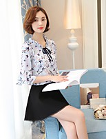 Women's Going out Casual/Daily Holiday Sexy Simple Cute All Seasons Summer Blouse,Floral Crew Neck ½ Length Sleeve Rayon Thin
