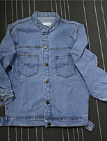 Women's Going out Simple Spring Denim Jacket,Solid Stand Regular Others