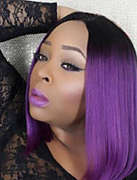 Top Quality Ombre Purple Wig Synthetic Middle Length Straight Bobo Wig For Balck Women Wig.