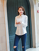 Women's Casual/Daily Simple Shirt,Solid Stand Long Sleeve Cotton Linen Opaque Thin