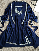 Women's Satin & Silk NightwearRetro Lace Solid-Medium Polyester(only robe)