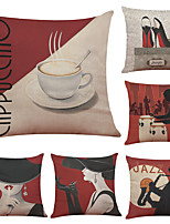 Set of 6 Elegant Woman Pattern Linen Pillowcase Sofa Home Decor Cushion Cover  Throw Pillow Case (18*18inch)