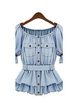 Damen Solide Retro Arbeit Strand T-shirt,Rundhalsausschnitt Kurzarm Polyester Mittel