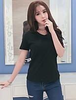 Feminino Camiseta Casual SimplesSólido Algodão Decote V Manga Curta