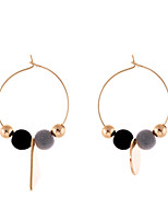 Lureme Handmade Colorful Velvet Balls Hoop Earrings with Gold Triangle Round Pendant