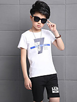 Boys' Casual/Daily Print Sets,Cotton Summer Short Sleeve Clothing Set