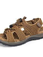 Men's Sandals Light Soles Cowhide Summer Casual Upstream shoes Light Soles Gore Flat Heel Light Brown Army Green Dark Brown Flat