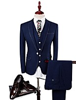 Suits Slim Fit Flat Collar Single Breasted One-button Soild Colour 3 Pieces Navy Blue