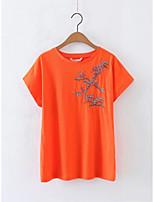 Tee-shirt Femme,Fleur Broderie Sortie Décontracté / Quotidien Sexy simple Chic de Rue Eté Manches Courtes Col Arrondi Coton Fin Moyen