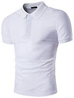 Herren Solide Street Schick Lässig/Alltäglich T-shirt,Hemdkragen Kurzarm Polyester