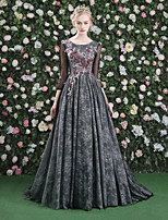 Formal Evening Dress - Floral A-line Jewel Sweep / Brush Train Lace Satin Tulle with Flower(s) Lace