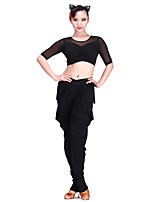 Latin Dance Tops Women's Performance Chinlon Spandex Tulle Milk Fiber 1 Piece 3/4 Length Sleeve Top