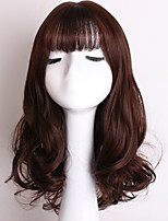 Popular Brown Color Wave Synthetic Hair Full Bang Daily Wigs for Women