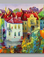 Pintados à mão Paisagens Abstratas Quadrangular,Moderno Estilo Europeu 1 Painel Tela Pintura a Óleo For Decoração para casa