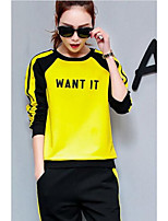 Жен. Длинные рукава Бег Весна Спортивная одежда Хлопок Свободный силуэт Черный/Желтый Классика