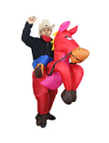 Red Cowboy Horse Outfit Funny Inflatable Costume Halloween Carnival Cosplay Cow Boy Rider Horse Inflatable Costume For Adults