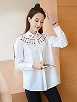 Women's Casual/Daily Simple Shirt,Solid Shirt Collar Long Sleeve Polyester