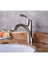 Contemporary Centerset Widespread with  Ceramic Valve Single Handle One Hole for  Nickel Brushed , Bathroom Sink Faucet