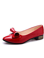 Damen Flache Schuhe Club-Schuhe PU Frühling Sommer Herbst Outddor Büro Lässig Walking Schleife Blockabsatz Weiß Schwarz Rot Rosa Flach