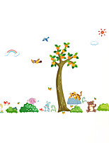Wall Stickers Wall Decals Style Fresh tree Animal Paradise PVC Wall Stickers