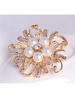 Women's Girls´ Brooches Flower Style Pearl Crystal Alloy Royal Blue Light Green Grey Red Fuchsia Jewelry ForWedding Party Special