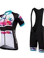Maillot et Cuissard à Bretelles de Cyclisme Femme Unisexe Manches courtes Vélo Cuissard à bretelles Shirt Maillot Shorts RembourrésDesign
