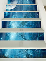 6pcs per Set Staircase Stickers Landscape Wall Stickers 3D Wall Stickers Decorative Wall StickersVinyl Material Home Decoration Wall Decal