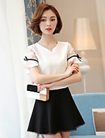 Women's Going out Casual/Daily Holiday Vintage Simple Cute All Seasons Summer Blouse,Solid Round Neck Short Sleeve Rayon Thin