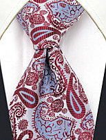 UXL17 Men's Necktie Red Paisley 100% Silk Business Dress Casual For Men