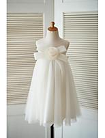 A tubino Al ginocchio Abito da damigella d'onore bambina - Tulle Con decorazione gioiello con Fiocco (fiocchi) Fiore (i)