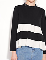 Women's Casual/Daily Simple T-shirt,Striped Patchwork Round Neck Long Sleeve Cotton